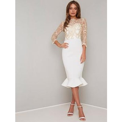 Chi Chi London Scuba Aga Fluted Hem Bodycon Midi Dress - White