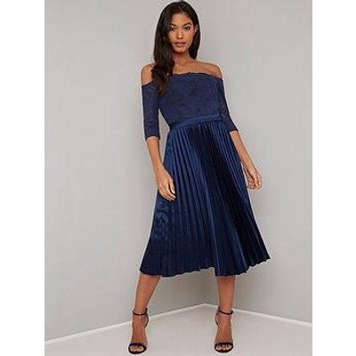 Chi Chi London Lesli Lace Top Pleated Skirt Midi Dress - Navy