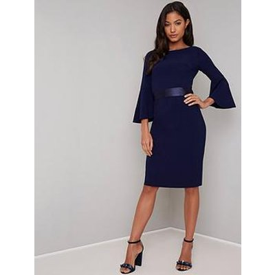 Chi Chi London Beau Waist Detail Midi Dress - Navy