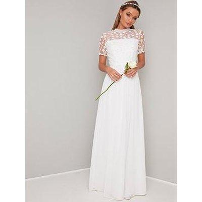 Chi Chi London Bridal Alix Crochet Top Maxi Dress - White