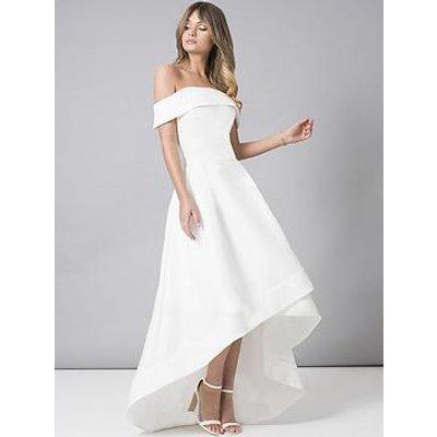 Chi Chi London Bridal Meryl Bardot Dip Hem Midi Dress - White