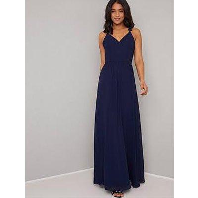 Chi Chi London Katrine Ruffle Detail Maxi Dress - Navy