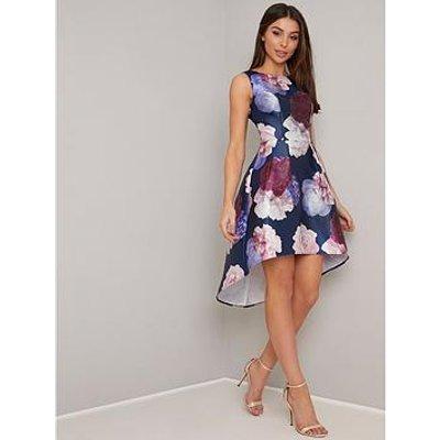 Chi Chi London Marigold Dip Hem Floral Prom Dress - Navy