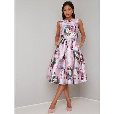 Chi Chi London Ariyah Printed Prom Dress - Pink