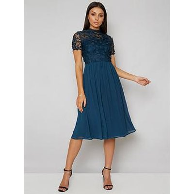 Chi Chi London Veronica Lace Top Midi Dress - Green