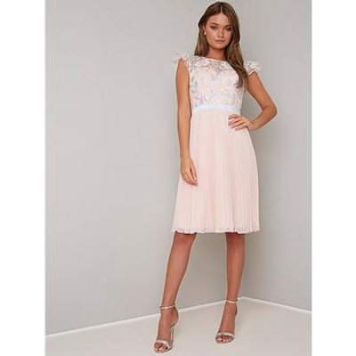 Chi Chi London Anabella Crochet Top Pleated Skirt Dress - Nude