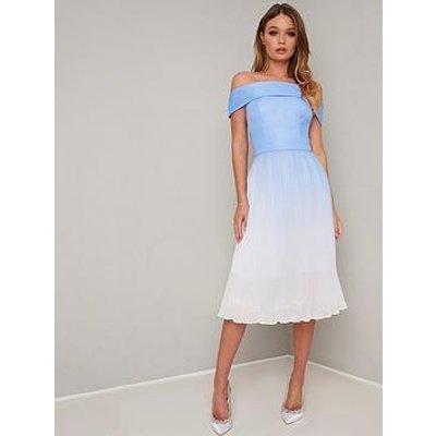 Chi Chi London Mireya Bardot Dress - Blue