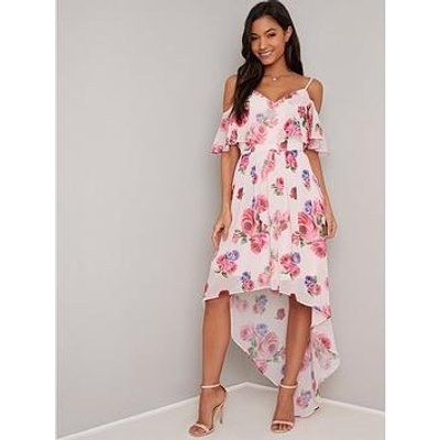 Chi Chi London Fummi Floral Print Cold Shoulder Maxi Dress - Multi