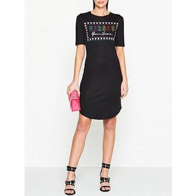 Versus Versace Logo Print Short Sleeve Dress - Black