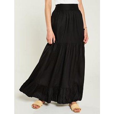 V By Very Tiered Maxi Skirt - Black