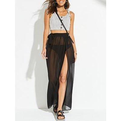 V By Very Chiffon Tie Side Beach Maxi Skirt - Black