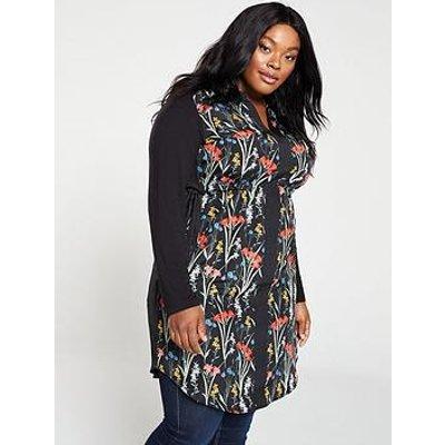 Oasis Curve Flora Woven Front Jersey Shirt Dress - Black