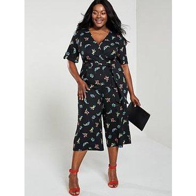 Oasis Curve Wrap Arranger Wide Leg Jumpsuit - Floral