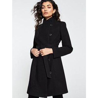 V By Very Funnel Neck Coat - Black