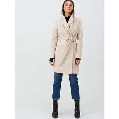 V By Very Funnel Neck Coat - Oatmeal