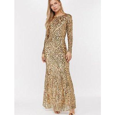 Monsoon Carlita Sequin Maxi Dress - Gold
