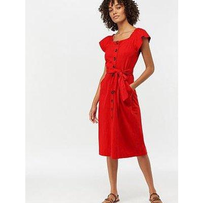 Monsoon Jessica Button Through Jersey Dress - Red