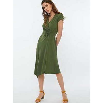 Monsoon Katy D Ring Jersey Midi Dress - Khaki