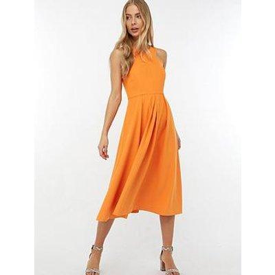 Monsoon Patricia Plain Midi Dress - Orange