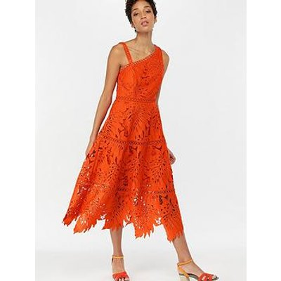 Monsoon Maria Palm Lace Midi Dress - Orange