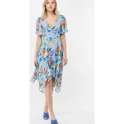 Monsoon Wendy Print Hanky Hem Dress - Blue