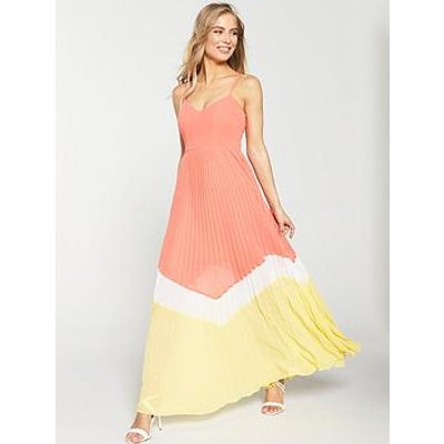 V By Very Pleated Colour Block Maxi Dress - Coral/Yellow
