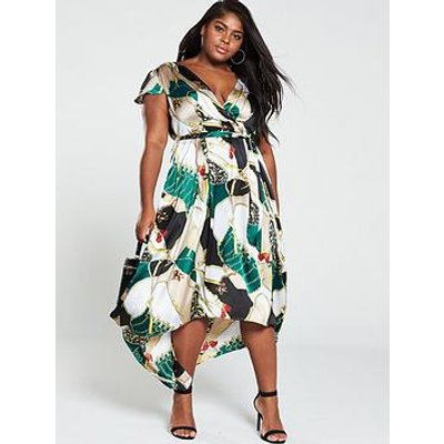Ax Paris Curve Cap Sleeve Dip Hem Wrap Dress - Green