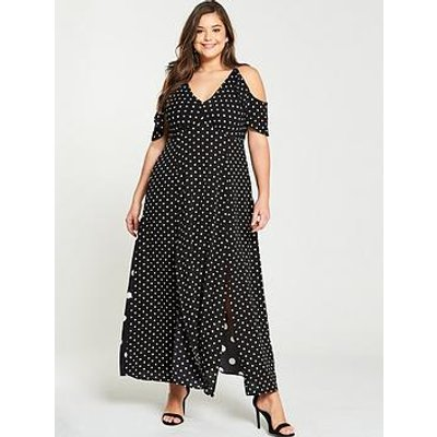 Ax Paris Curve Spot Split Side Maxi Dress - Black White
