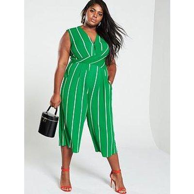 Ax Paris Curve Twist Front Stripe Jumpsuit - Green