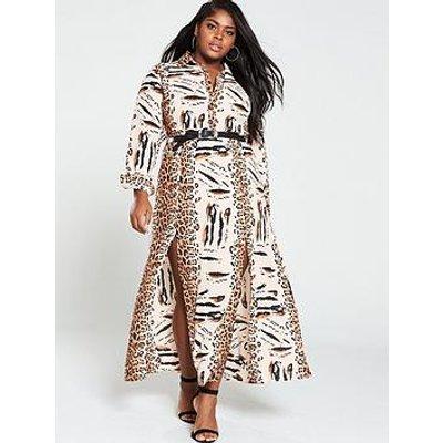 Ax Paris Curve Maxi Shirt Dress - Animal Print
