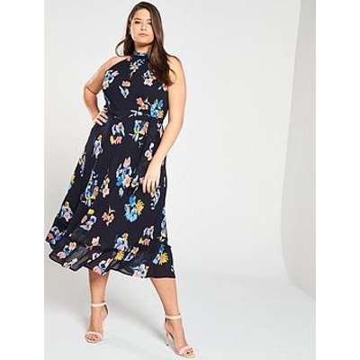 Monsoon Curve Wendy Print Sleeveless Midi Dress - Navy