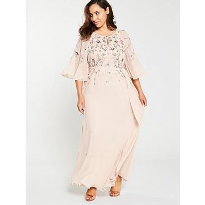 Monsoon Curve Augustina Embellished Kaftan Dress - Blush