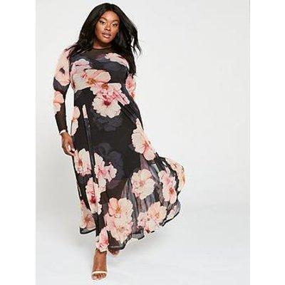 V By Very Curve Printed Mesh Maxi Dress - Print