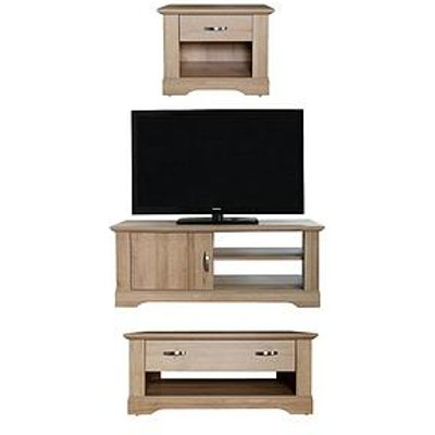 Cornwall 3 Piece Package &Ndash; Tv Unit, Coffee Table And Lamp Table - Oak Effect