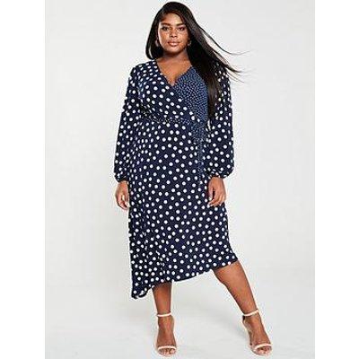 Oasis Curve Patched Spot Jersey Midi Dress - Navy