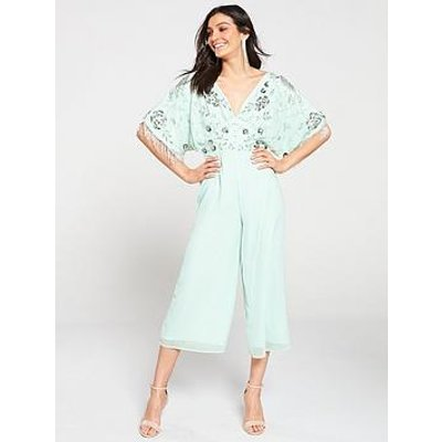 Frock And Frill Beaded Applique Wide Leg Cape Jumpsuit - Mint