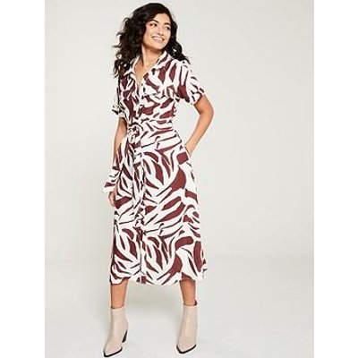 Whistles Graphic Zebra Shirt Dress - Brown/Multi