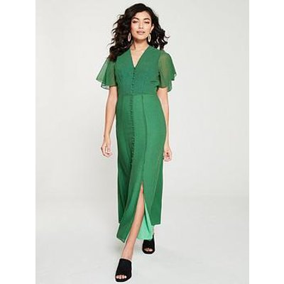 Whistles Cecily Check Button Through Dress - Green/Multi