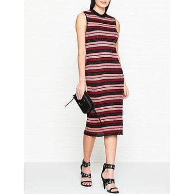 Mcq Alexander Mcqueen Metallic Stripe Pencil Dress - Pink/Red