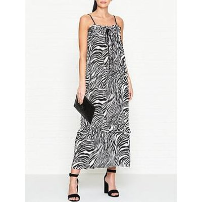 Mcq Alexander Mcqueen Zebra Print Silk Maxi Dress - Black/White