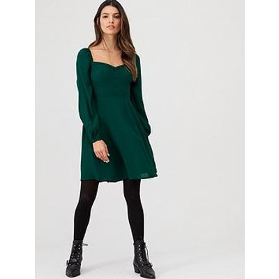 V By Very Button Front Shirred Back Tea Dress - Green
