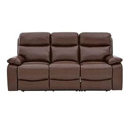 Hasting Real Leather/Faux Leather 3 Seater Manual Recliner Sofa