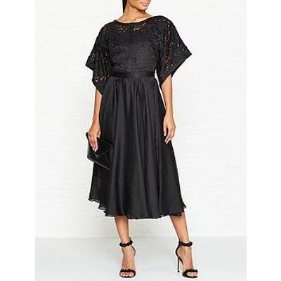 Ukulele Kimono Sleeve Midi Dress - Black