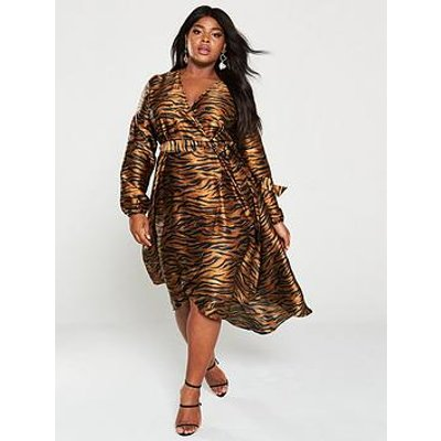 V By Very Curve Satin Wrap Midi Dress - Animal