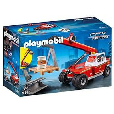 Playmobil Playmobil City Action Fire Crane With Pallet Fork Attachments