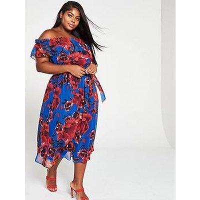 V By Very Curve Curve Bardot Print Chiffon Midi Dress - Floral Print