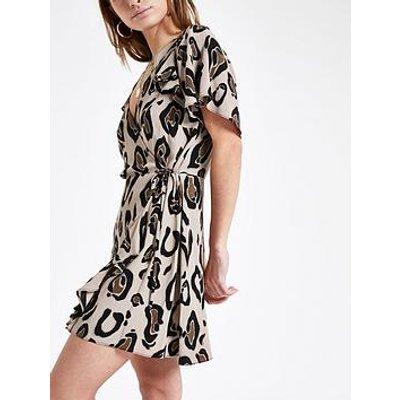 Ri Petite Leopard Print Tea Dress- Beige