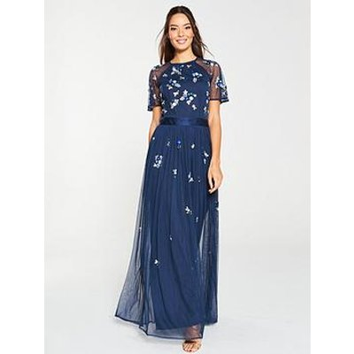 V By Very Embellished Tulle Bridesmaid Maxi Dress - Navy