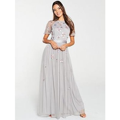 V By Very Embellished Tulle Bridesmaid Maxi Dress - Grey