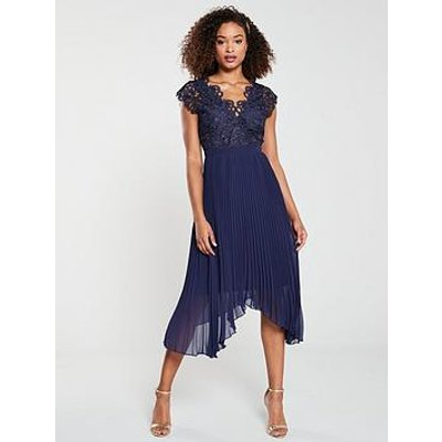 V By Very Lace Pleated Occasion Dress - Navy